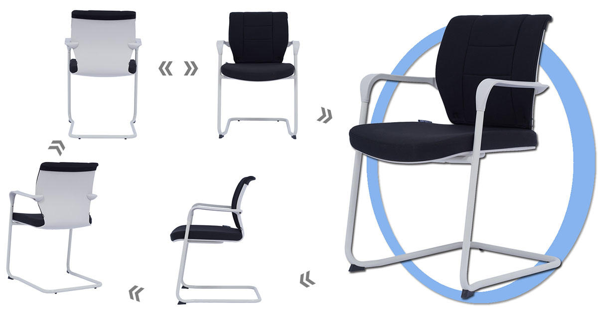 plastic visitor chair wheels scientificly for waiting Room-1