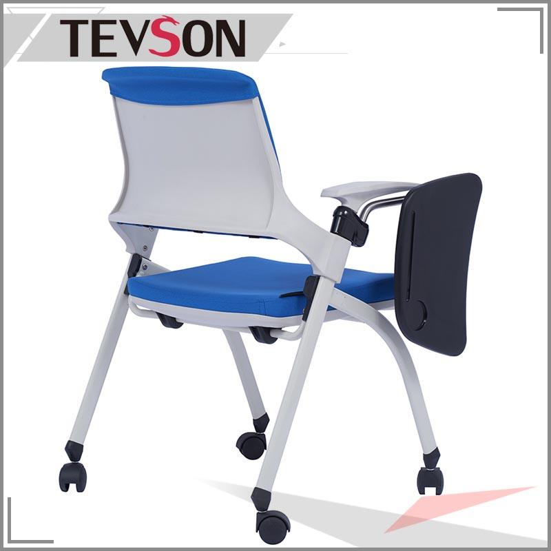 Ultra-Compact Plastic Folding Training Chair with Tablet Arm