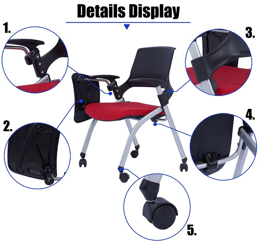 mid back study chair with writing pad or assurance for conference-3
